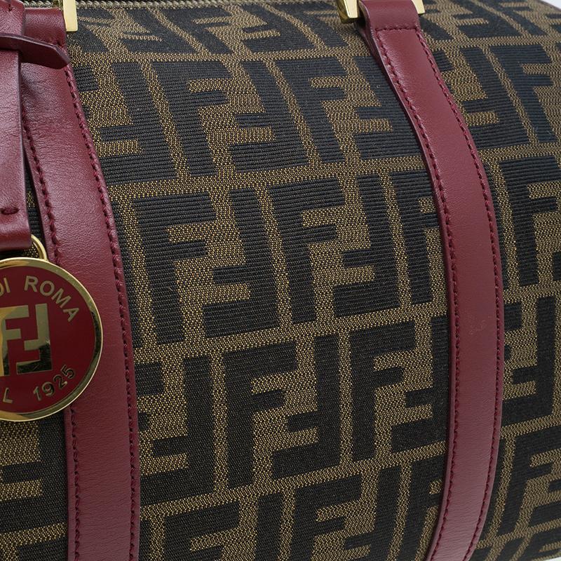 Fendi Red Canvas Zucca Jacquard Boston Bag