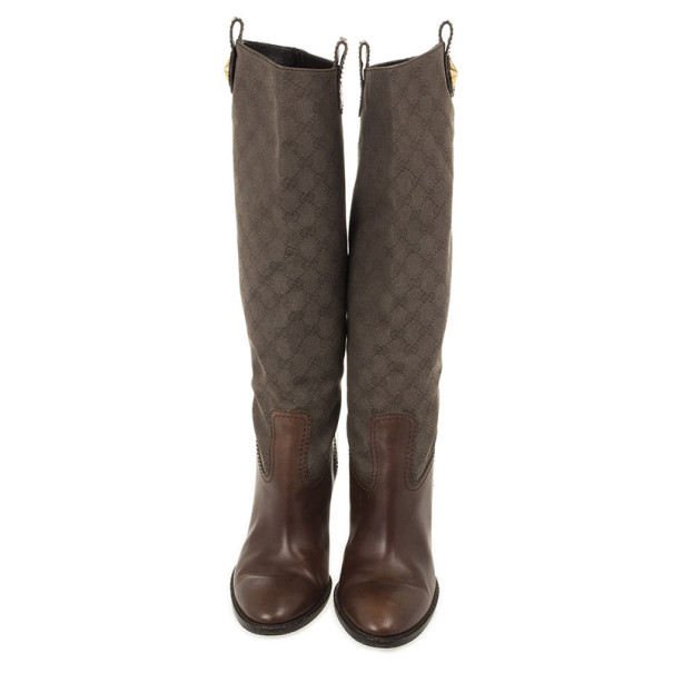 Gucci Brown GG Canvas 'Major' Tall Boots Size 41