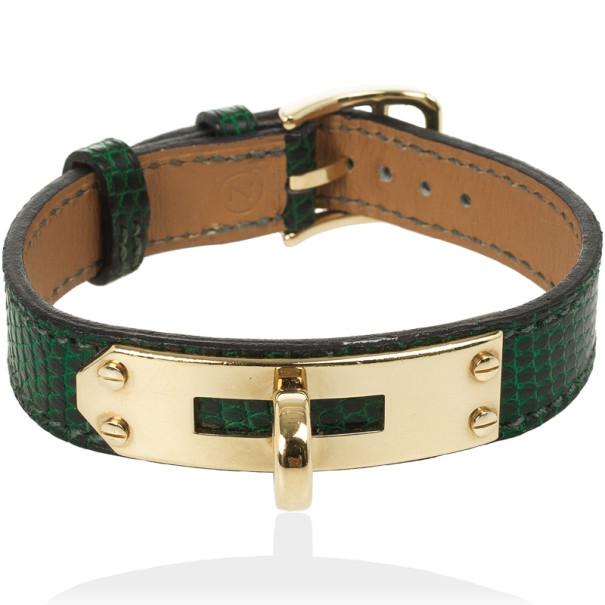 Hermes Kelly Green Lizard Bracelet
