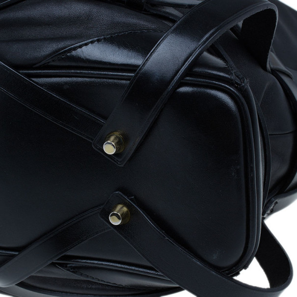 Burberry Black Lambskin Leather Belted Hobo