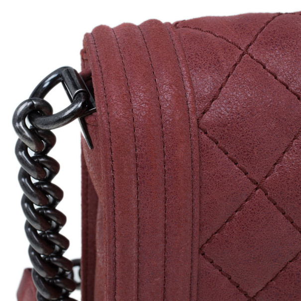 Chanel Dull Red Sueded Bull Small Boy Flap Bag