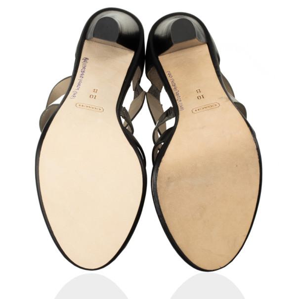 Coach Tawnee Vachetta Leather & Snakeskin Strappy Sandals Size 40.5
