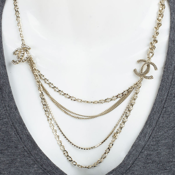 Chanel CC Multiple Chains Crystal Necklace