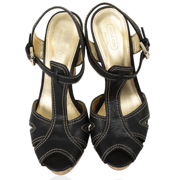 Coach Black Leather Bianca Platform Sandals Size 39.5