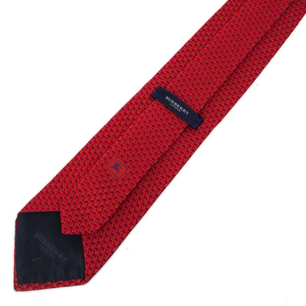 Burberry Red Woven Silk Tie