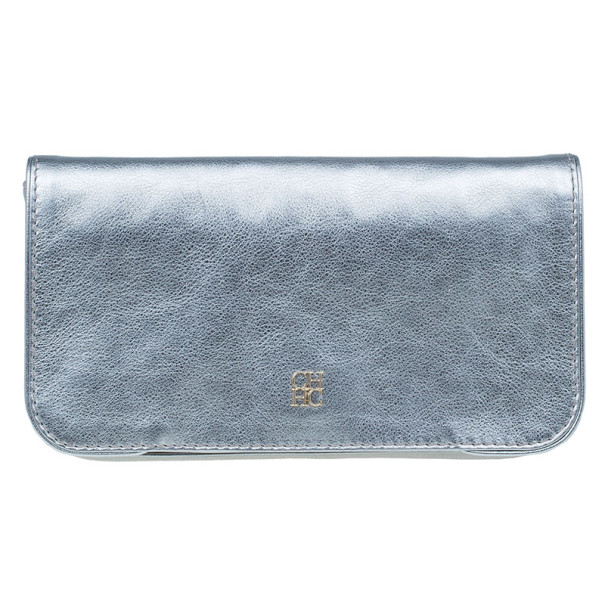 Carolina Herrera Silver Leather Flap Clutch