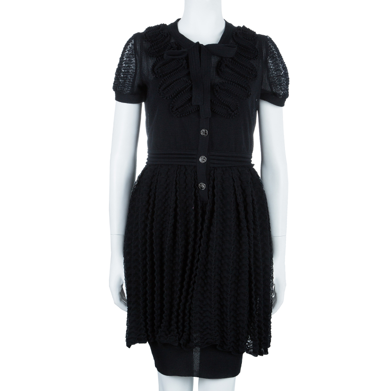 Chanel Black Crinkle Detail Dress M