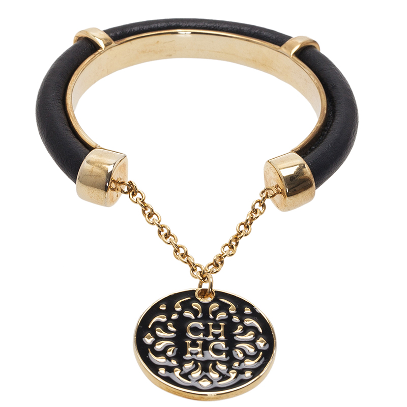 Carolina Herrera CH Black Leather Pendant Gold Tone Cuff Bracelet
