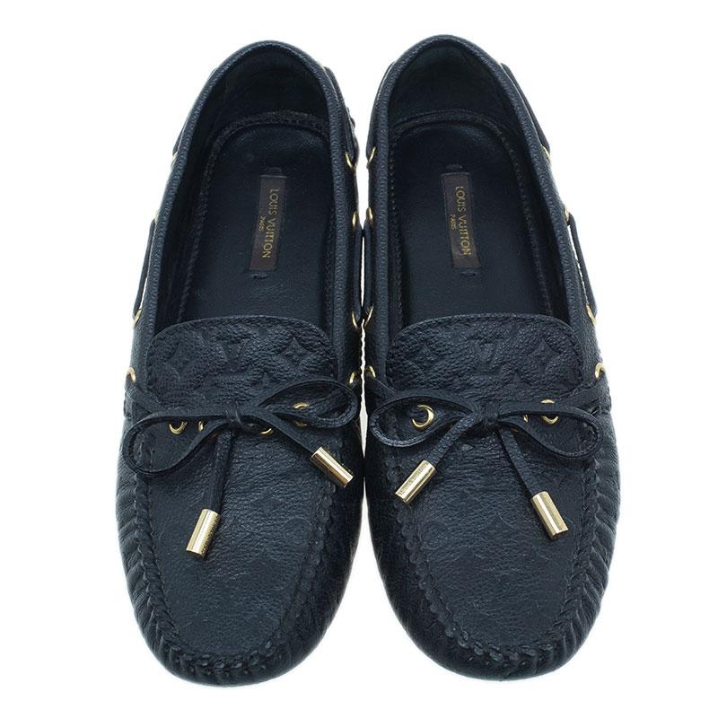 Louis Vuitton Black Leather Gloria Loafers Size 37