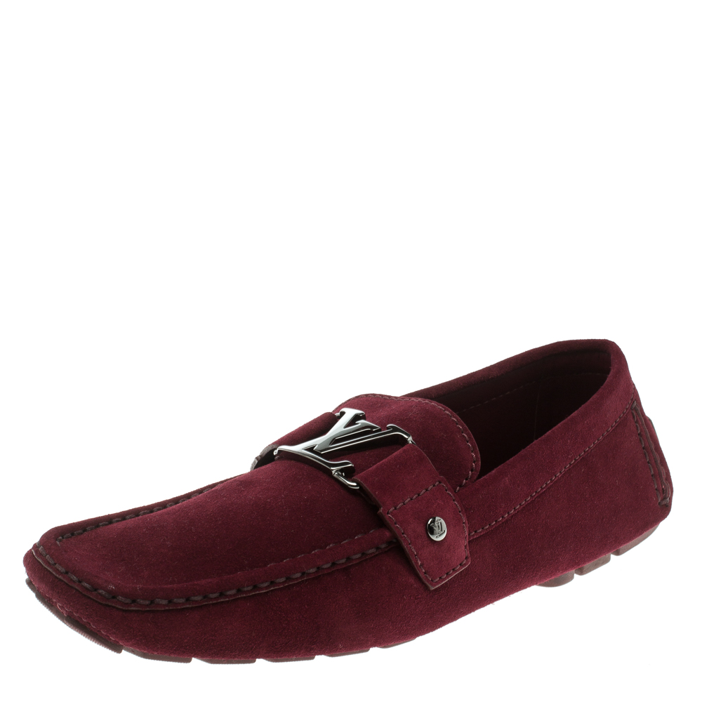 a3c4b0875fd5 Louis Vuitton Garnet Red Suede Monte Carlo Loafers Size 43.5. nextprev.