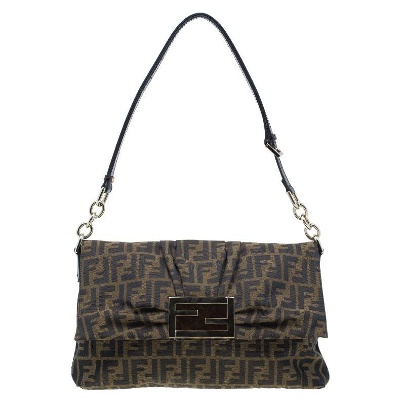 Fendi Brown Zucca Canvas Logo Jacquard Flap Bag