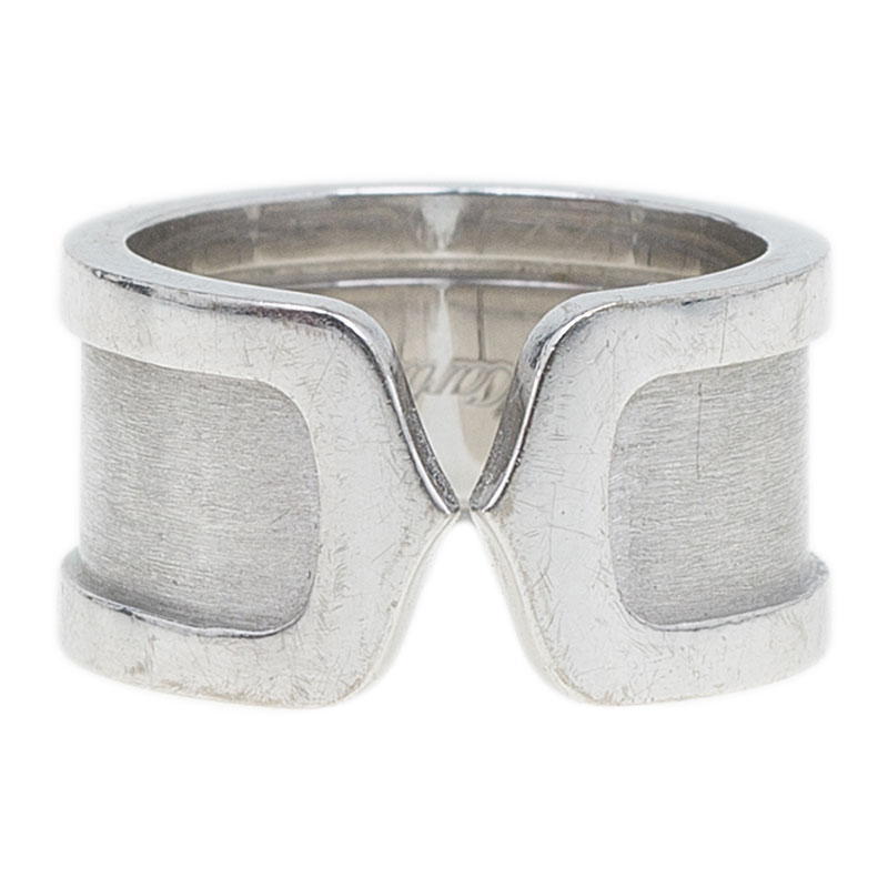 Cartier Double C White Gold Band Ring Size 47