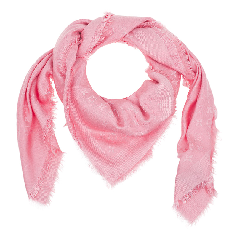 Louis Vuitton Pink Silk & Wool Monogram Shawl