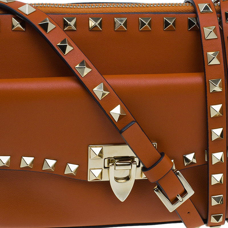 Valentino Orange Leather Rockstud Removable Pouch Crossbody Bag