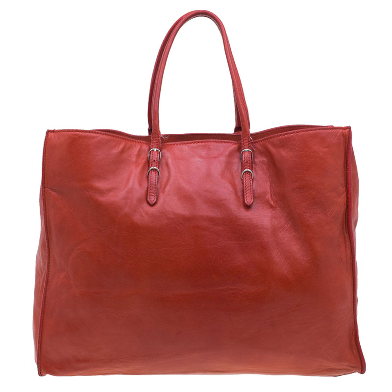 Balenciaga Red Leather Papier A4 Tote