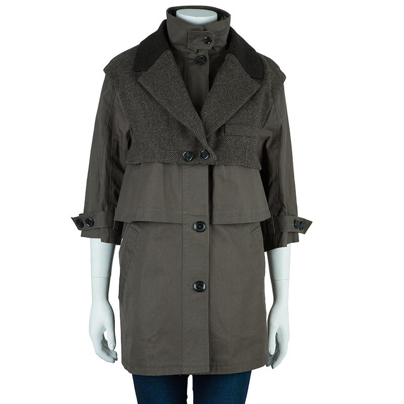 Louis Vuitton Khaki Mid-Length Coat M
