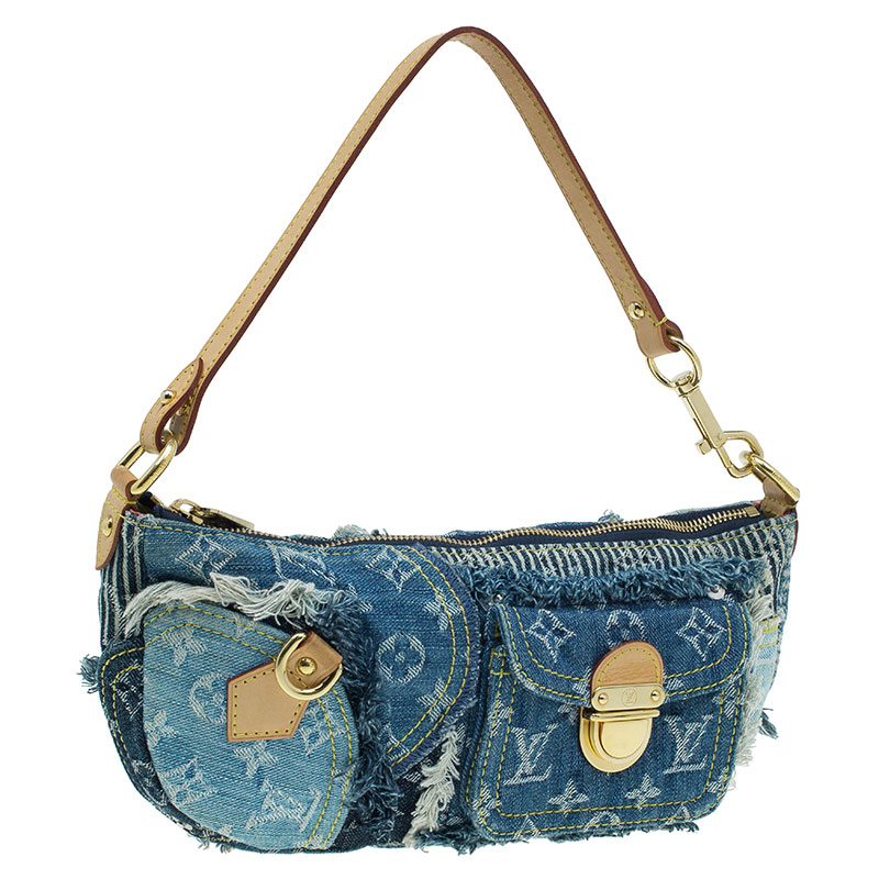 Louis Vuitton Blue Monogram Denim Patchwork Pouchy Bag