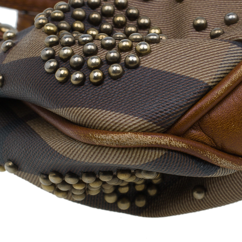 Burberry Brown Coated Canvas Studded Heart Crossbody Bag