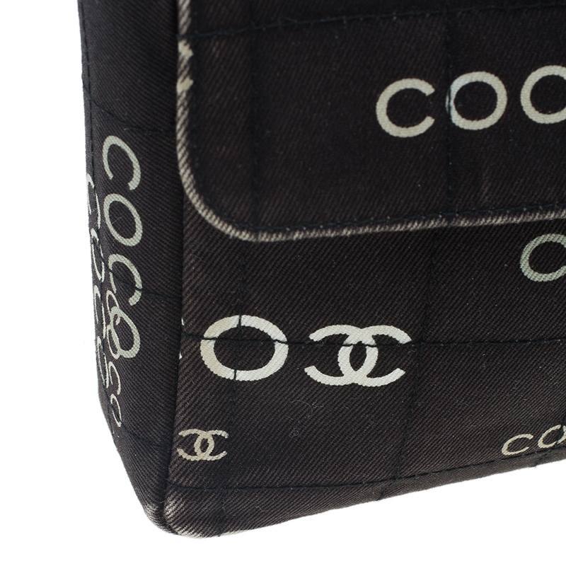Chanel Black Fabric Quilted Coco Chanel East/West Flap Bag
