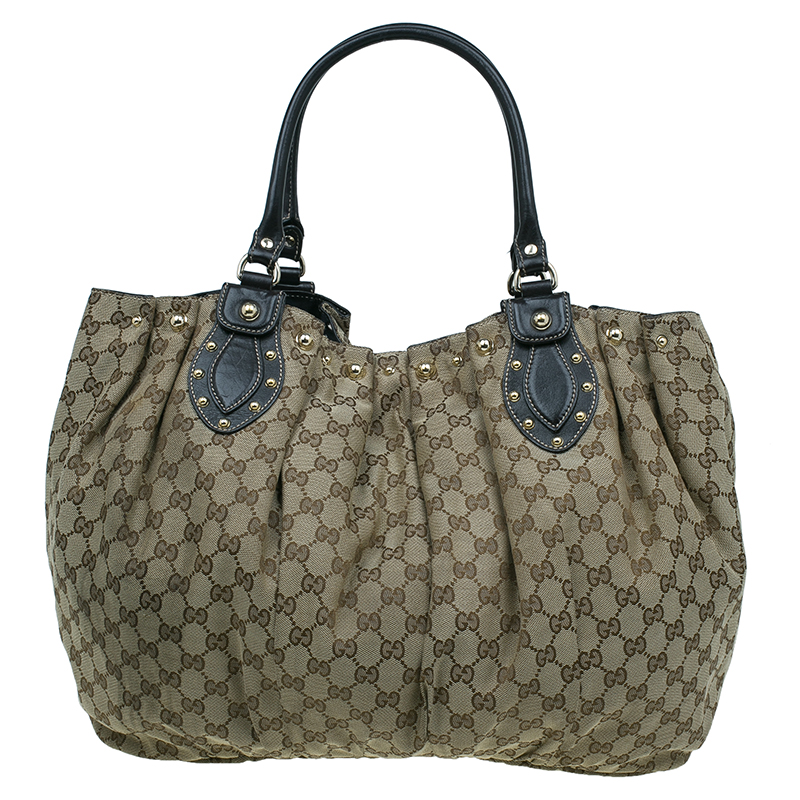 Gucci Beige GG Canvas Large Studded Pelham Tote Bag