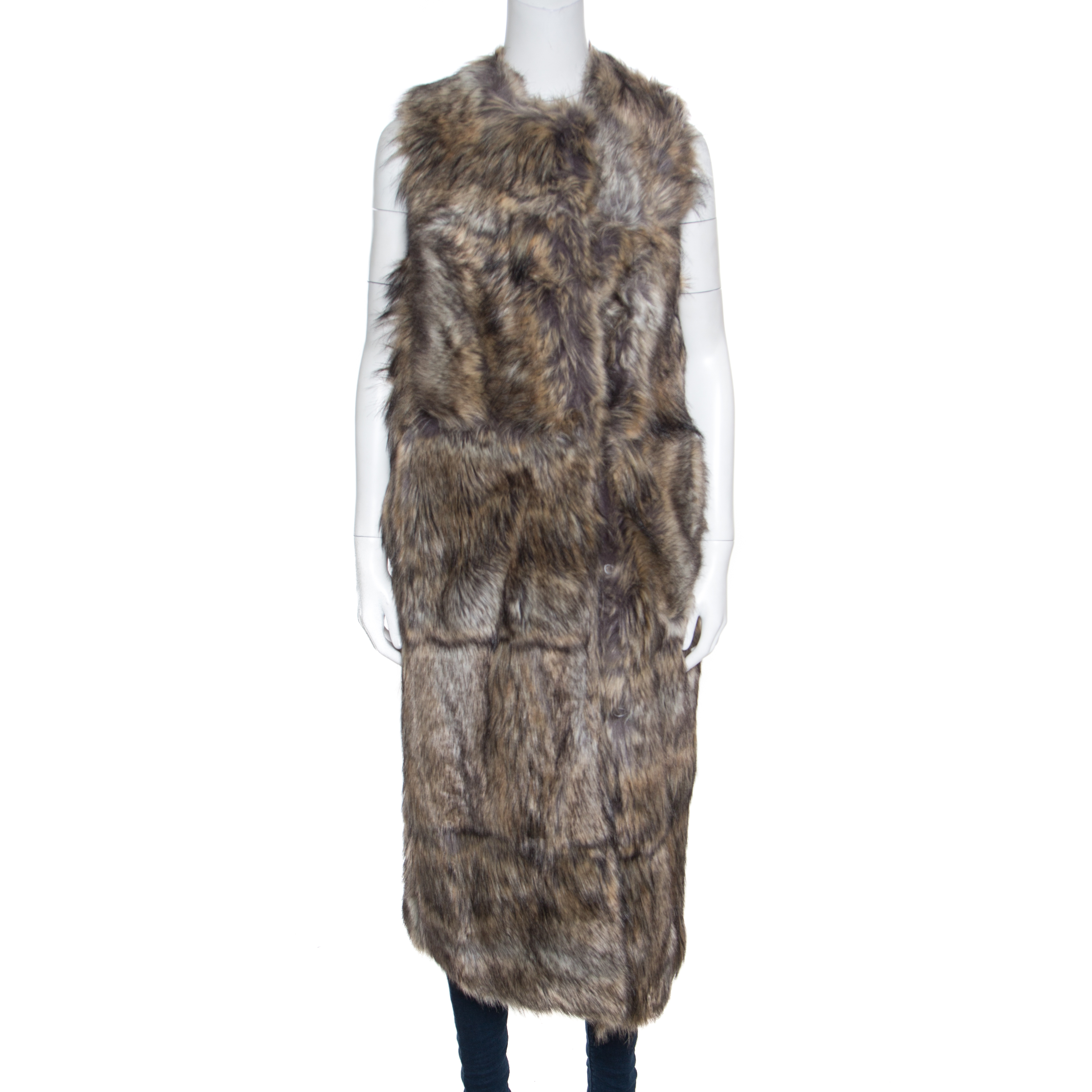 Купить со скидкой Stella McCartney Brown and Beige Faux Fur Adalia Long Sleeveless Coat XS