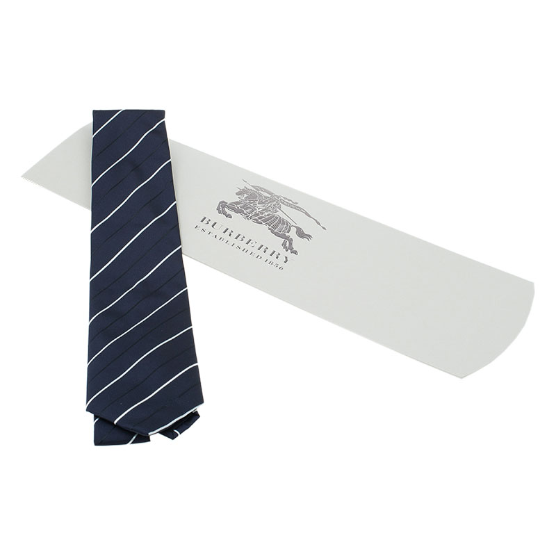 Burberry Navy Blue and White Striped Silk Tie