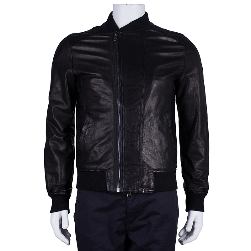 D&G Men's Black Leather Jacket M