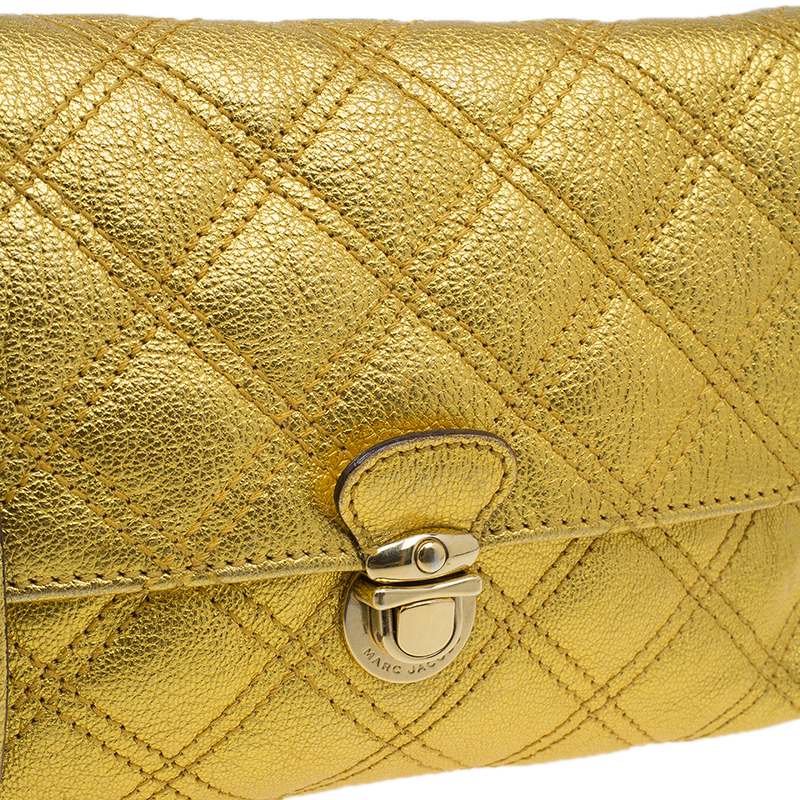 Marc Jacobs Gold Quilted Leather Crossbody Bag