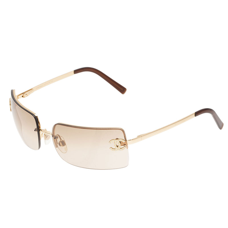 Chanel Gold 4104 CC Rimless Sunglasses