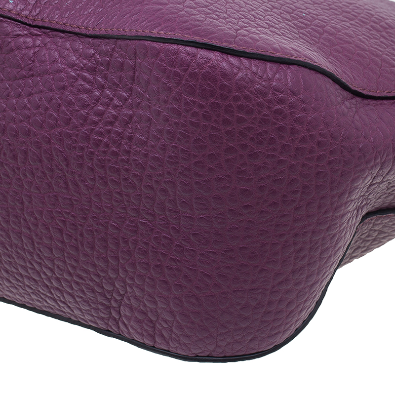 Burberry Purple Heritage Grain Medium Orchard Bowling Bag