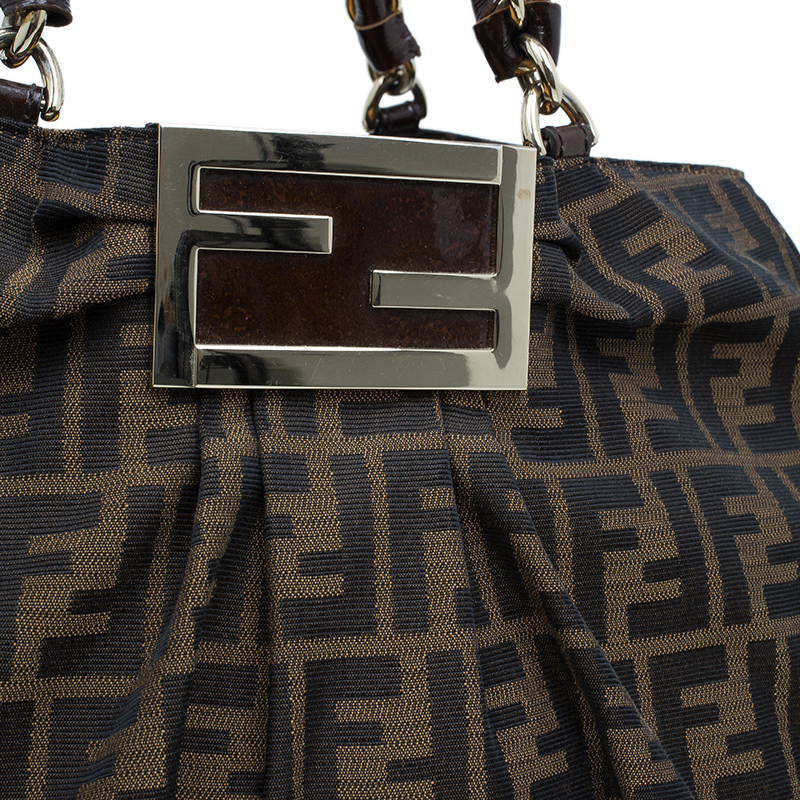 Fendi Brown Zucca Canvas Large Mia Tote Bag