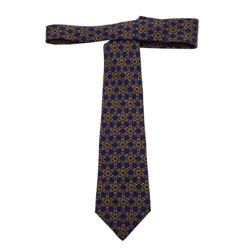 Hermes Blue and Yellow Printed Silk Tie