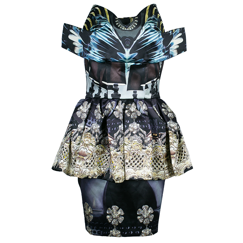 Mary Katrantzou Strapless Peplum Printed Dress M
