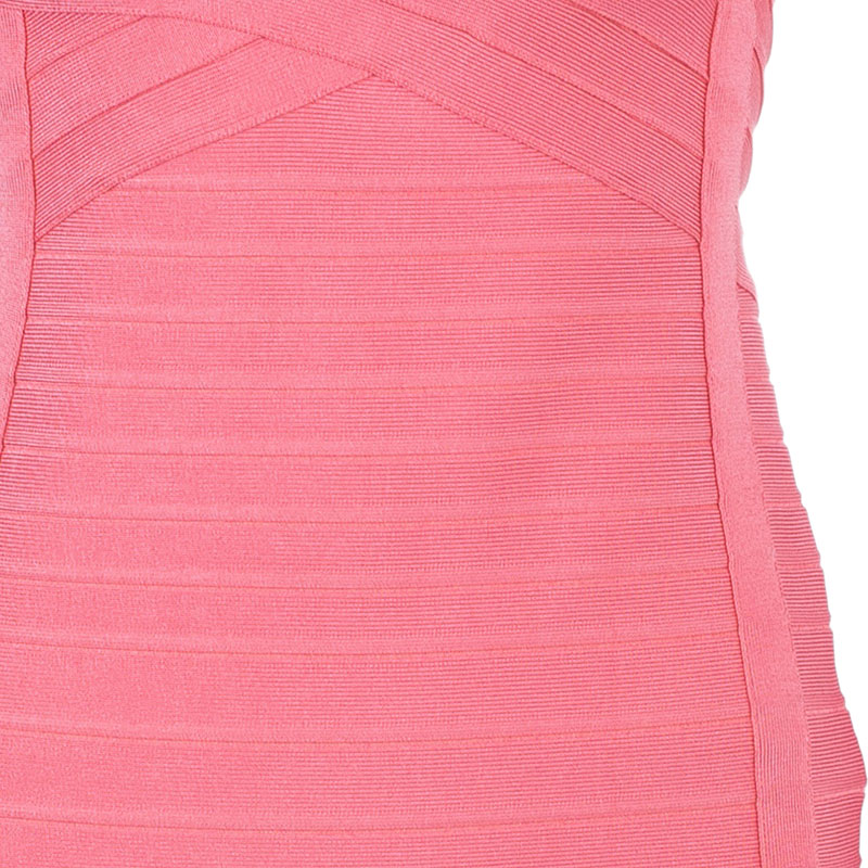 Herve Leger Peach Blush Bandage Dress M