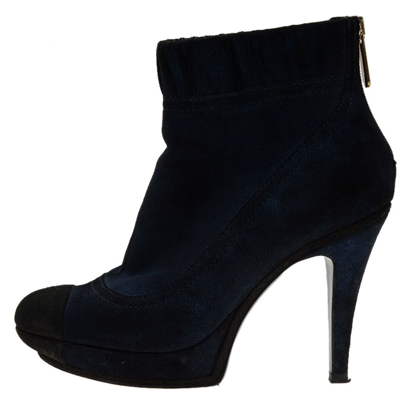Chanel Navy Blue Suede CC Cap Toe Ankle Boots Size 39