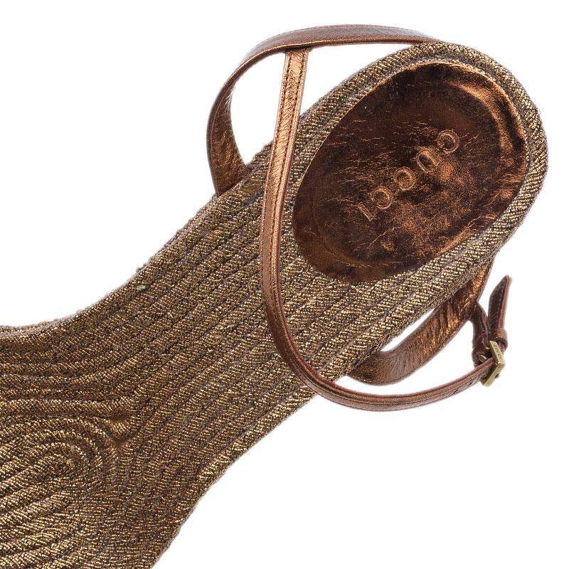 Gucci Bronze Metallic Leather Lia Espadrille Wedges Size 41