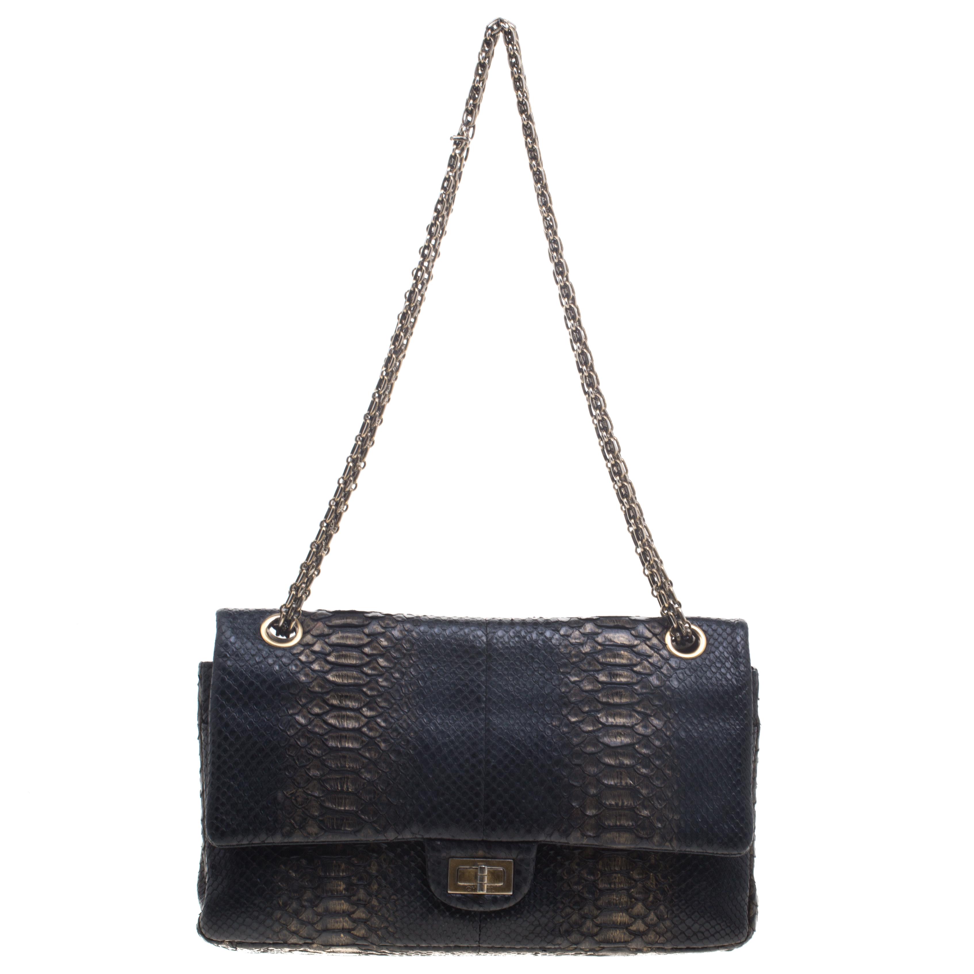 1bdee12da2d0 Chanel Teal Python Sensual CC Clutch Bag. attractive price c5216 57a31 Buy  Chanel Metallic BlackGold Python Reissue 2.55 Classic 22 ...