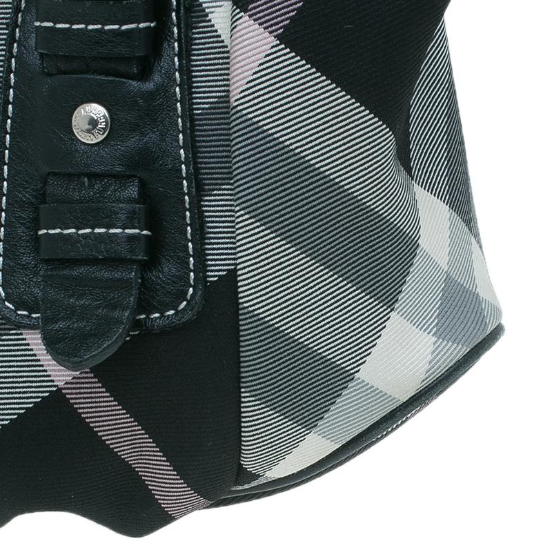 Burberry black pink Nova Check Canvas pleated Tote crossbody bag
