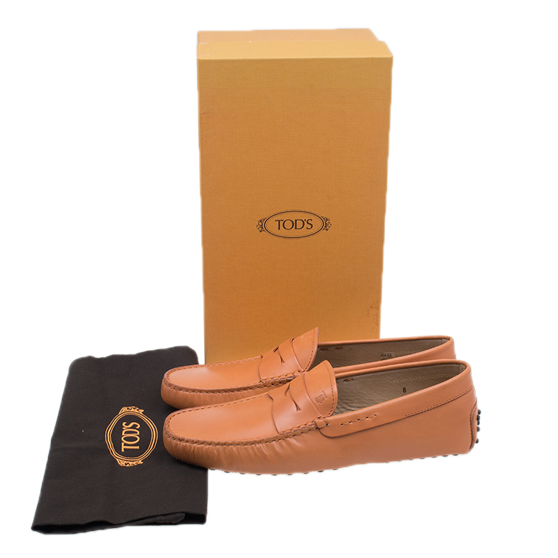 Tod's Orange Leather Penny Loafers Size 42