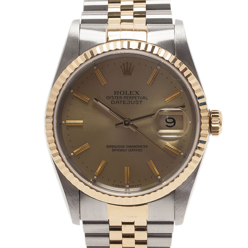 Rolex Gold Stainless Steel and Yellow Gold Datejust Men's Wristwatch 36MM