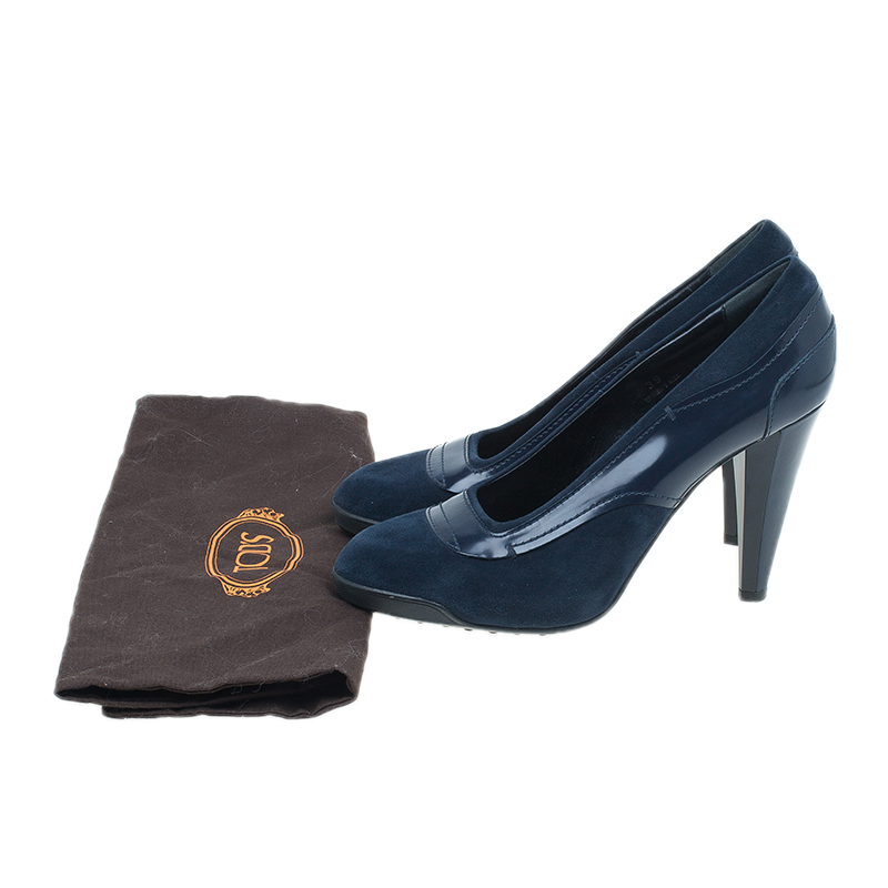 Tod's Blue Suede and Leather Almond Toe Pumps Size 39