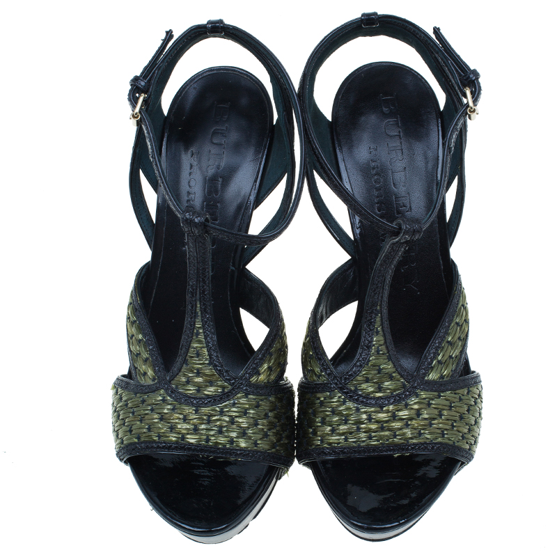 Burberry Green Woven Raffia and Leather Ankle Strap Platform Sandals Size 38