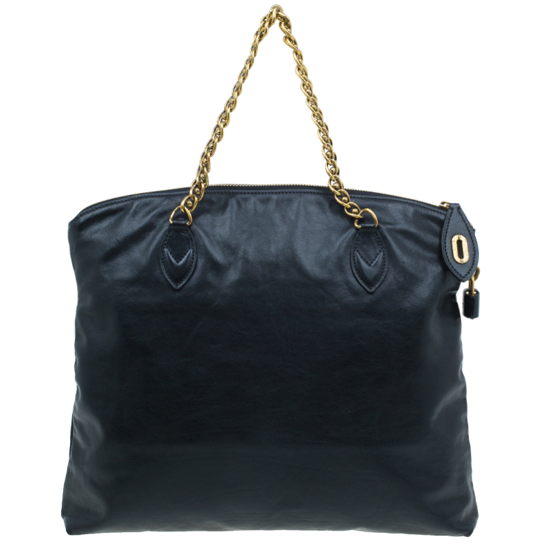 Louis Vuitton Black Cuir Boudoir Leather Lockit Chain Tote Bag