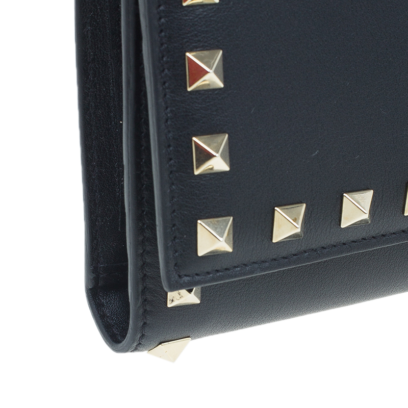 Valentino Black Leather Rockstud Flap Travel Wallet