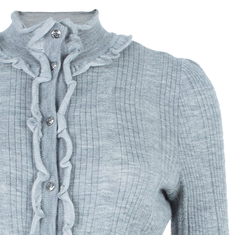 Chanel Gray Ruffled Cardigan M