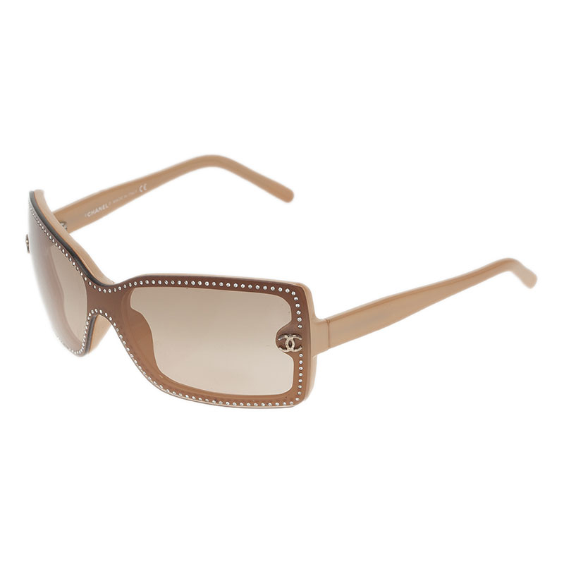 Chanel Beige Embellished CC Logo Rectangle Sunglasses