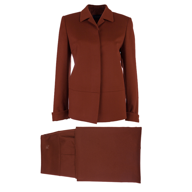 Burberry Rust Red Wool Skirt Suit S