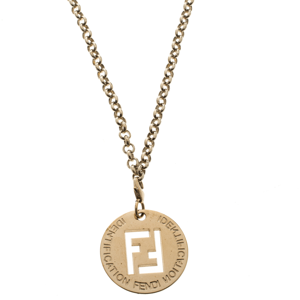 Fendi logo gold tone pendant charm rolo chain necklace buy sell lc prevnext aloadofball Images