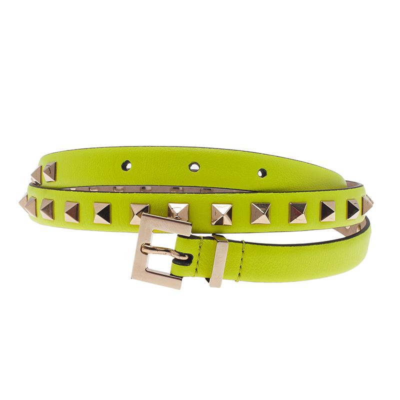 Valentino Neon Yellow Rockstud Skinny Belt 85 CM