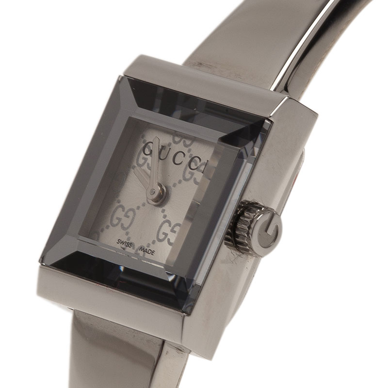 Gucci Logo Stainless Steel G-Frame 128.5 Women's Wristwatch 16MM